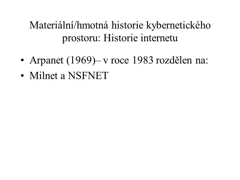 Materiální/hmotná historie kybernetického prostoru: Historie internetu Arpanet (1969)– v roce 1983 rozdělen na: Milnet a NSFNET