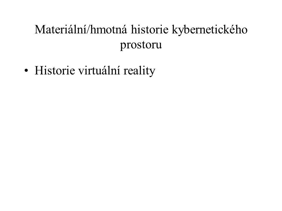 Materiální/hmotná historie kybernetického prostoru Historie virtuální reality
