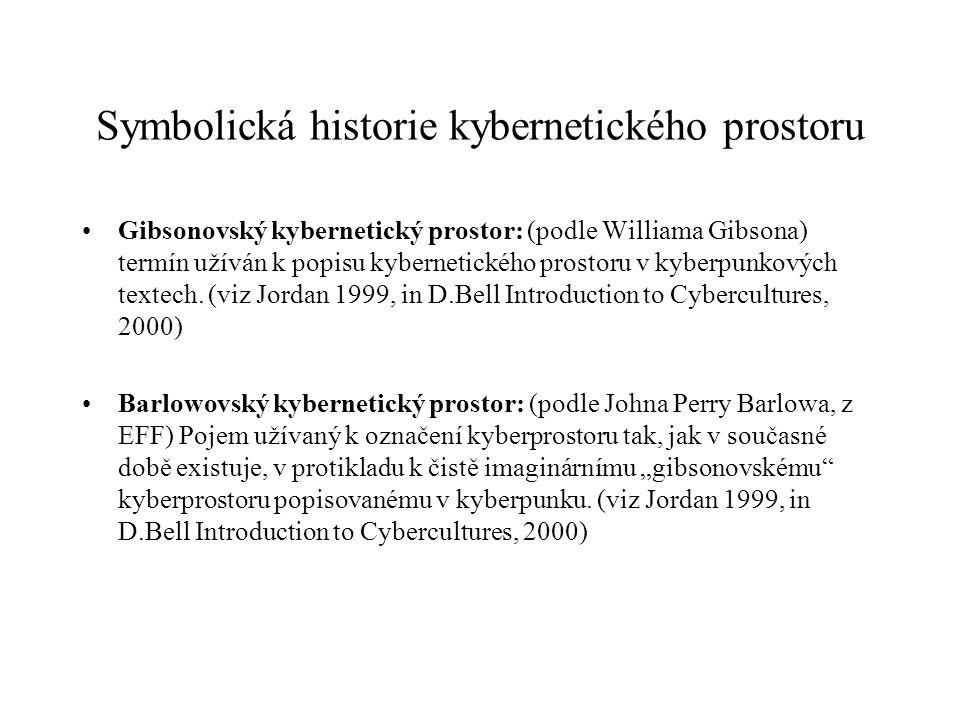 Symbolická historie kybernetického prostoru Gibsonovský kybernetický prostor: (podle Williama Gibsona) termín užíván k popisu kybernetického prostoru