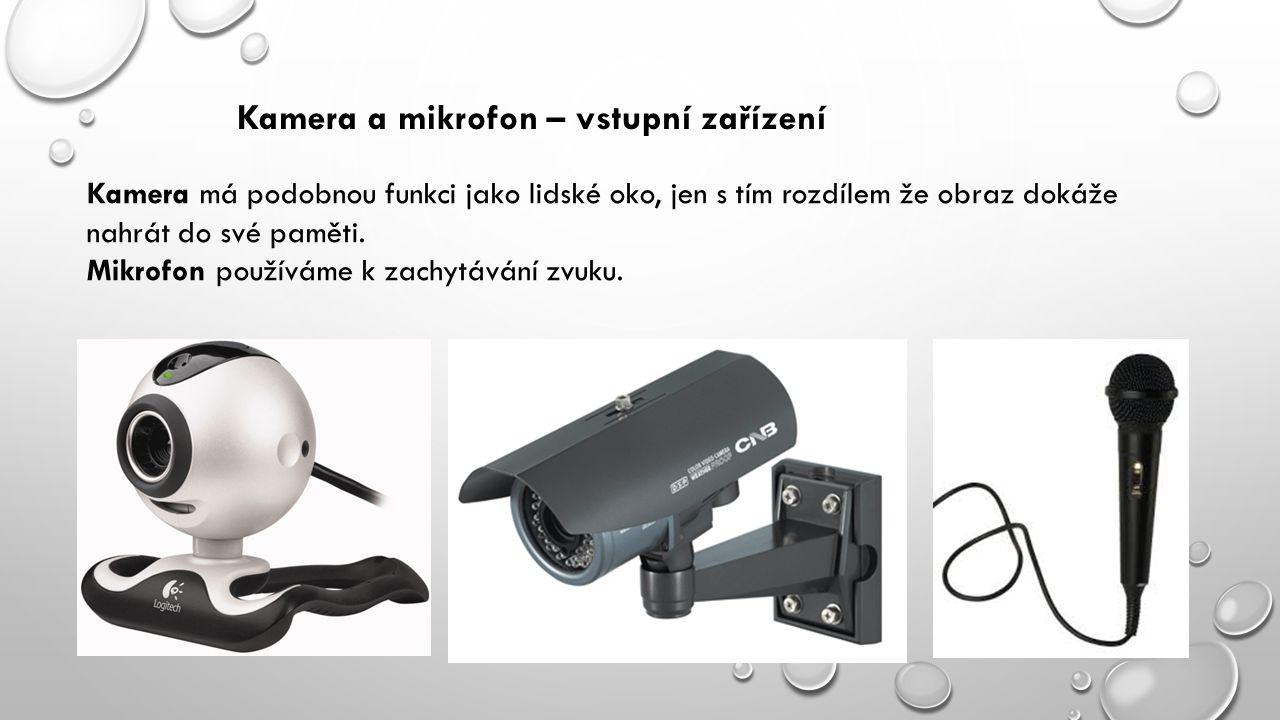 Kamera a mikrofon – vstupní zařízení Kamera má podobnou funkci jako lidské oko, jen s tím rozdílem že obraz dokáže nahrát do své paměti.