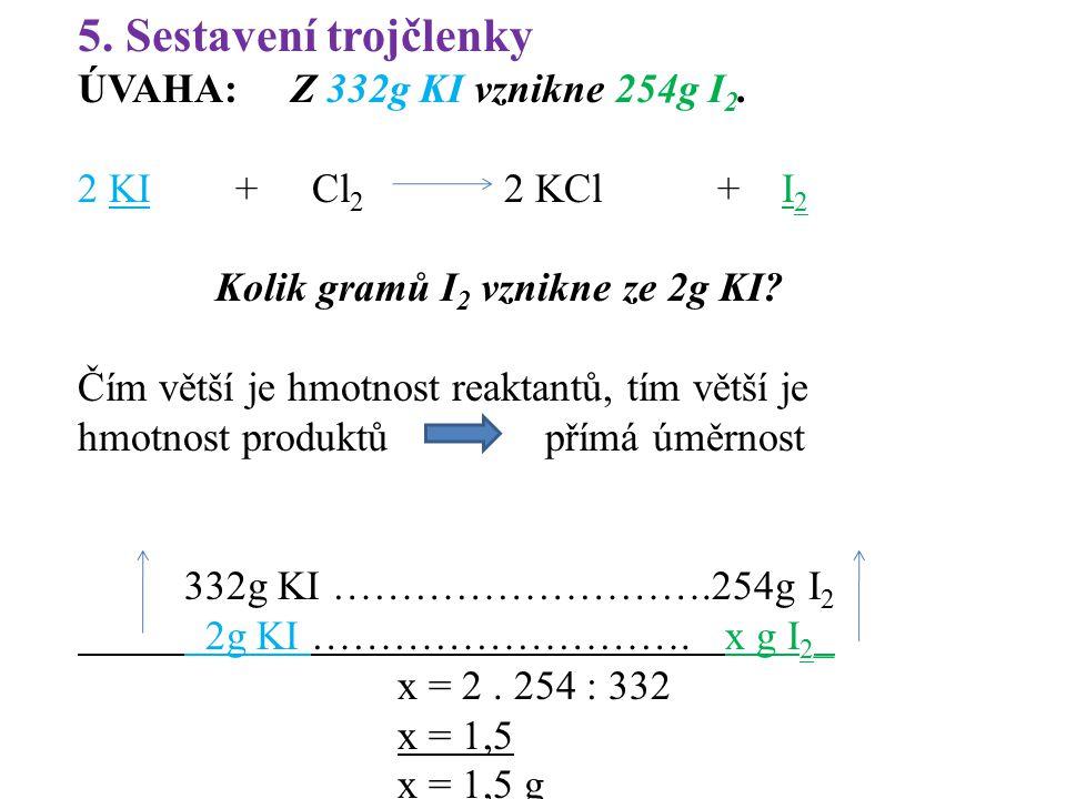 5. Sestavení trojčlenky ÚVAHA: Z 332g KI vznikne 254g I 2. 2 KI + Cl 2 2 KCl + I 2 Kolik gramů I 2 vznikne ze 2g KI? Čím větší je hmotnost reaktantů,