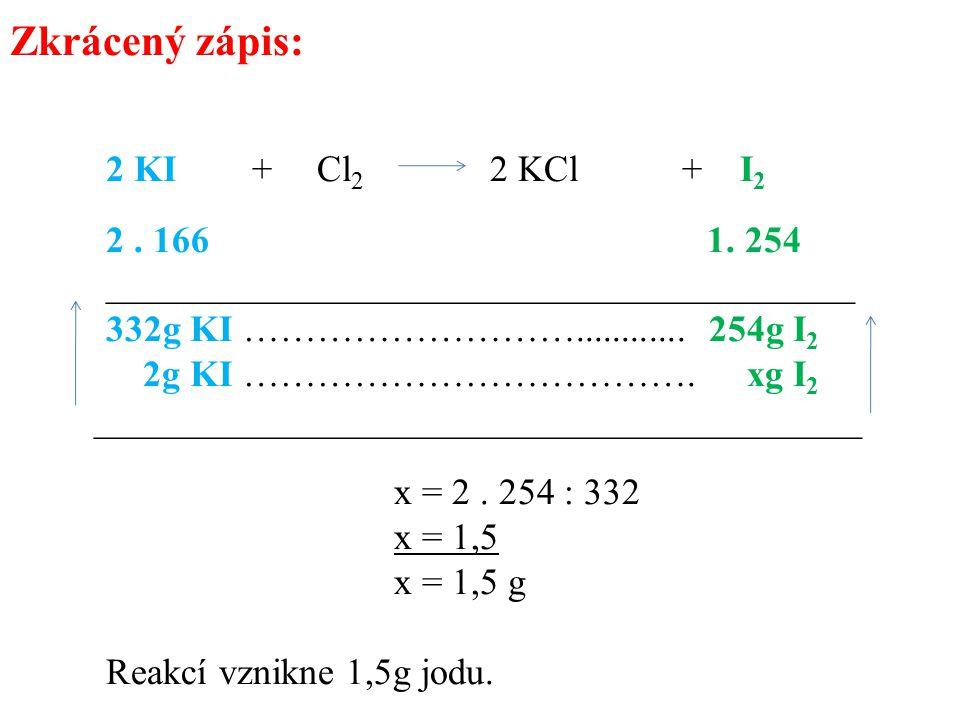 Zkrácený zápis: 2 KI + Cl 2 2 KCl + I 2 2. 166 1. 254 ________________________________________ 332g KI ………………………............ 254g I 2 2g KI …………………………