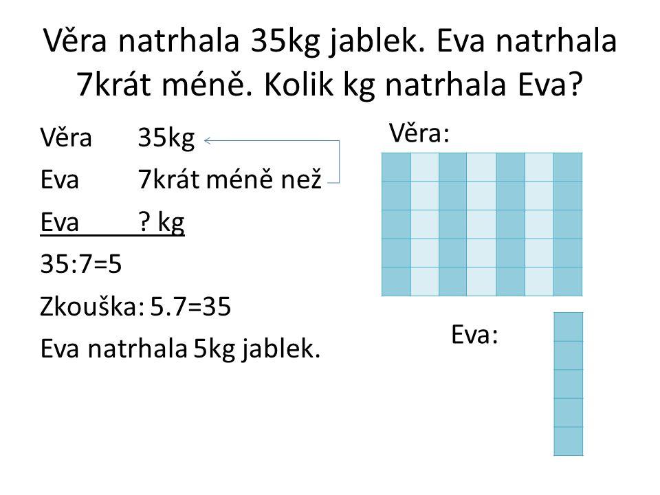 Věra natrhala 35kg jablek. Eva natrhala 7krát méně. Kolik kg natrhala Eva? Věra35kg Eva 7krát méně než Eva? kg 35:7=5 Zkouška: 5.7=35 Eva natrhala 5kg