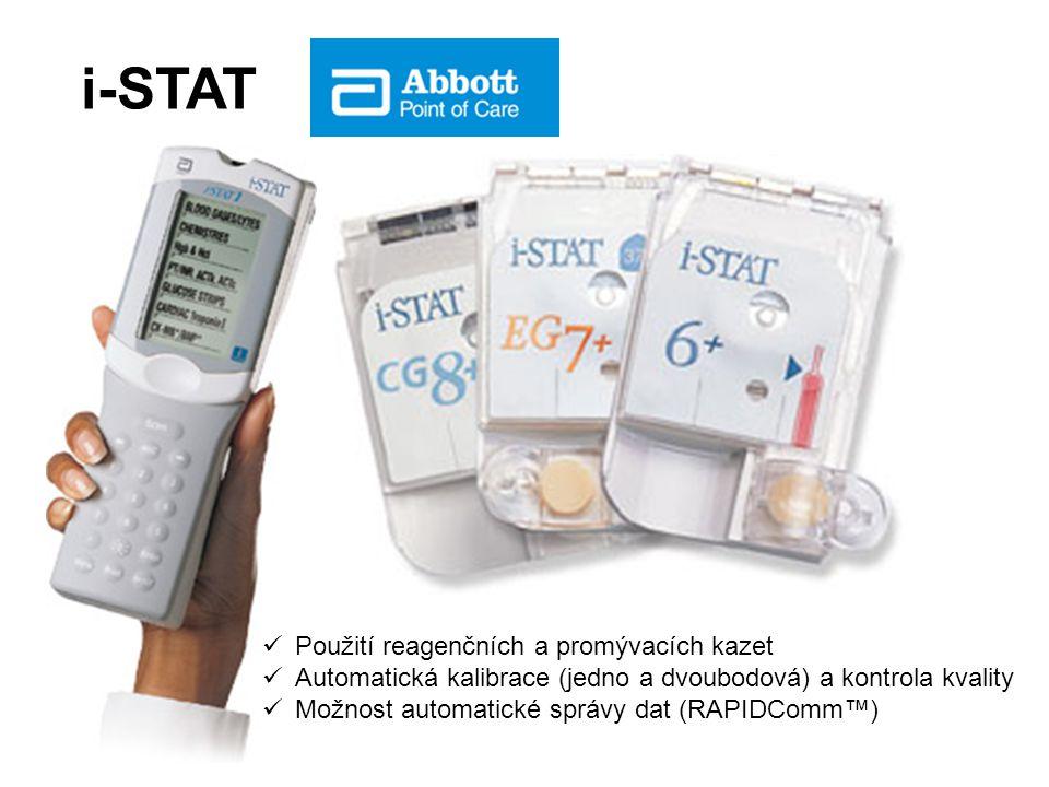 i-STAT Použití reagenčních a promývacích kazet Automatická kalibrace (jedno a dvoubodová) a kontrola kvality Možnost automatické správy dat (RAPIDComm™)