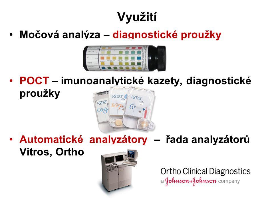 Využití Močová analýza – diagnostické proužky POCT – imunoanalytické kazety, diagnostické proužky Automatické analyzátory – řada analyzátorů Vitros, Ortho