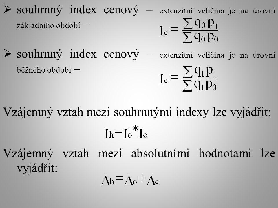  souhrnný index cenový – extenzitní veličina je na úrovni základního období –  souhrnný index cenový – extenzitní veličina je na úrovni běžného období – Vzájemný vztah mezi souhrnnými indexy lze vyjádřit: Vzájemný vztah mezi absolutními hodnotami lze vyjádřit: