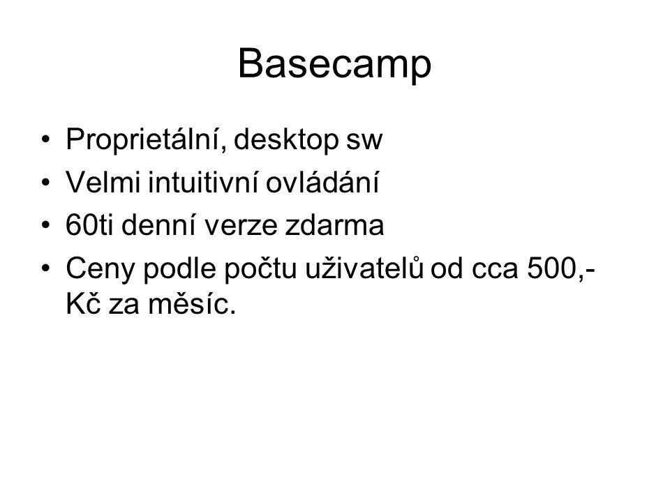 Basecamp Proprietální, desktop sw Velmi intuitivní ovládání 60ti denní verze zdarma Ceny podle počtu uživatelů od cca 500,- Kč za měsíc.