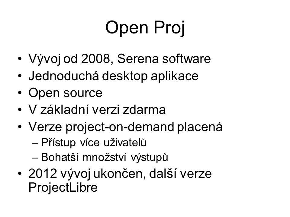 Open Proj Vývoj od 2008, Serena software Jednoduchá desktop aplikace Open source V základní verzi zdarma Verze project-on-demand placená –Přístup více uživatelů –Bohatší množství výstupů 2012 vývoj ukončen, další verze ProjectLibre