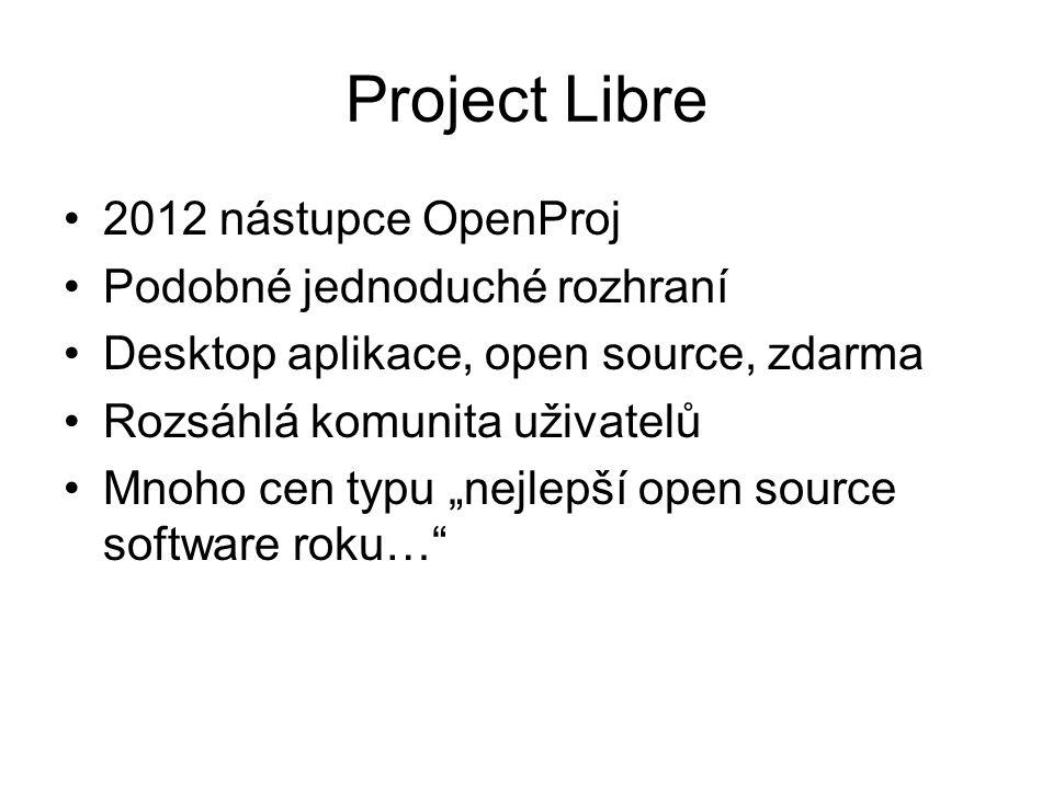 """Project Libre 2012 nástupce OpenProj Podobné jednoduché rozhraní Desktop aplikace, open source, zdarma Rozsáhlá komunita uživatelů Mnoho cen typu """"nejlepší open source software roku…"""