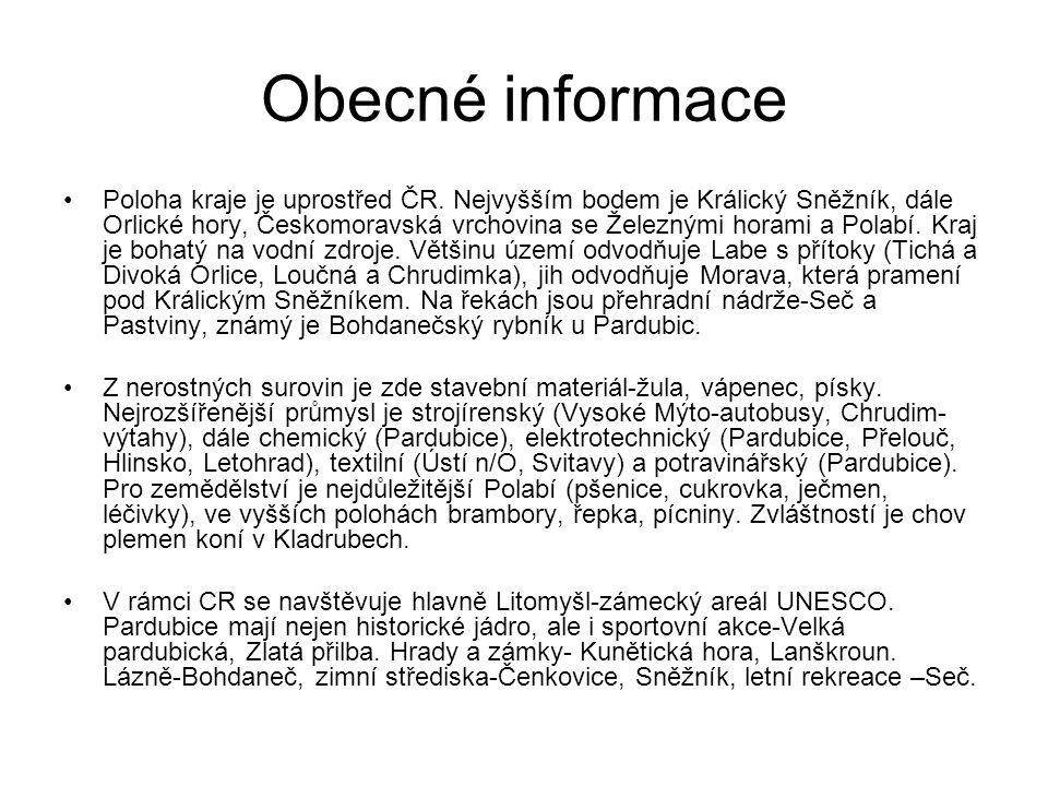 Obecné informace Poloha kraje je uprostřed ČR.