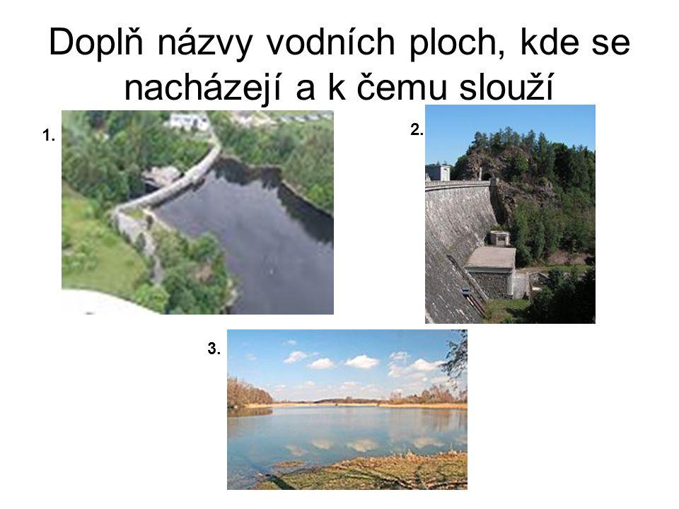 Doplň názvy vodních ploch, kde se nacházejí a k čemu slouží 1. 2. 3.