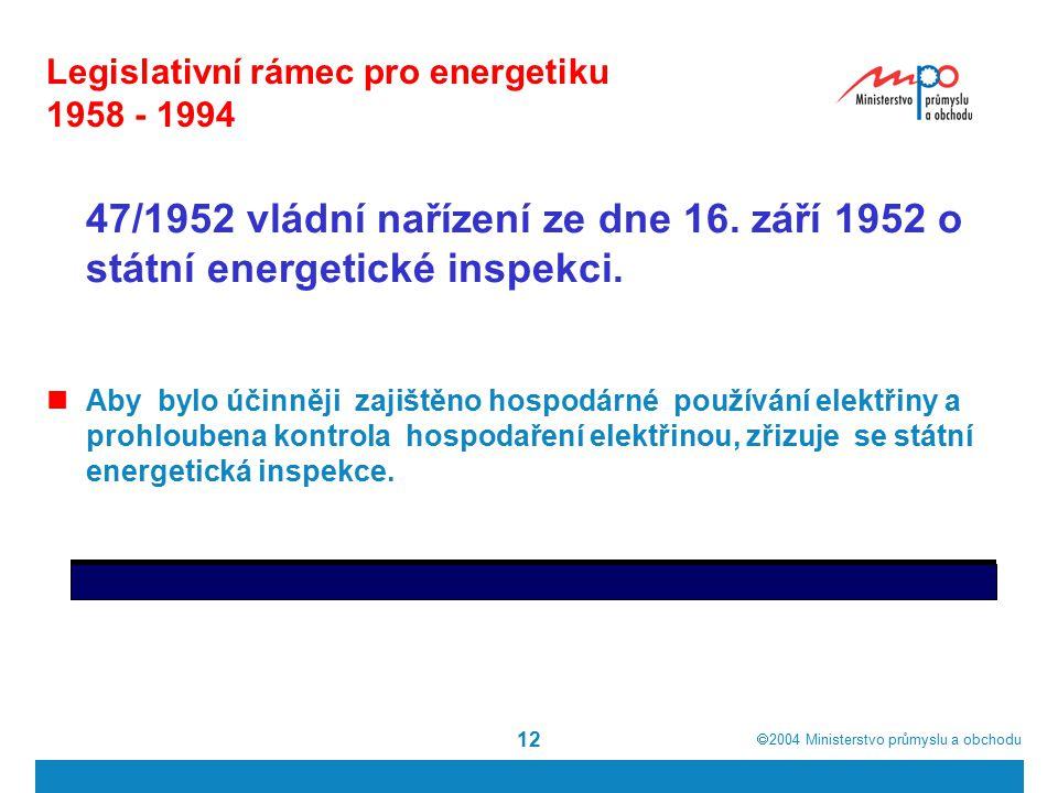  2004  Ministerstvo průmyslu a obchodu 12 Legislativní rámec pro energetiku 1958 - 1994 47/1952 vládní nařízení ze dne 16.