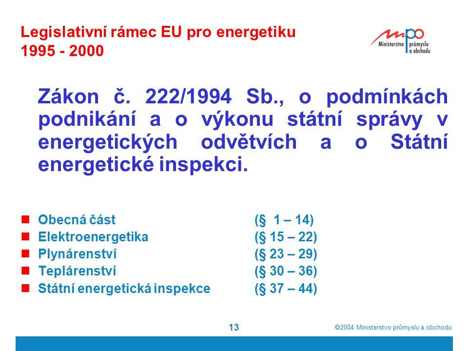  2004  Ministerstvo průmyslu a obchodu 13 Legislativní rámec EU pro energetiku 1995 - 2000 Zákon č.