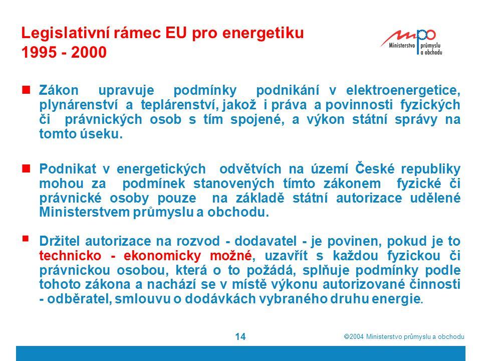  2004  Ministerstvo průmyslu a obchodu 14 Legislativní rámec EU pro energetiku 1995 - 2000 Zákon upravuje podmínky podnikání v elektroenergetice, plynárenství a teplárenství, jakož i práva a povinnosti fyzických či právnických osob s tím spojené, a výkon státní správy na tomto úseku.