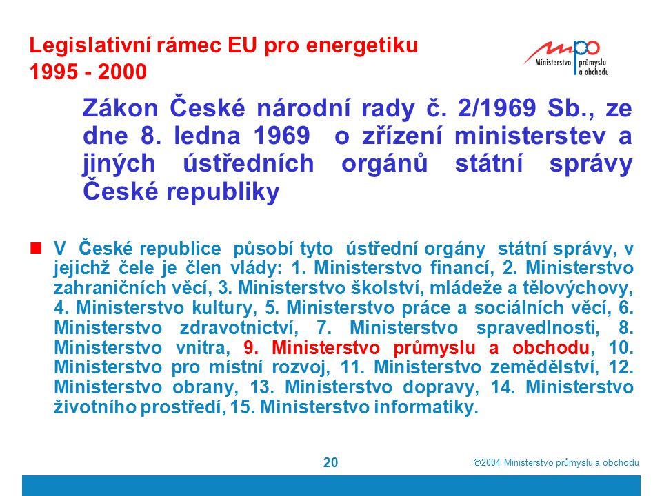  2004  Ministerstvo průmyslu a obchodu 20 Legislativní rámec EU pro energetiku 1995 - 2000 Zákon České národní rady č.