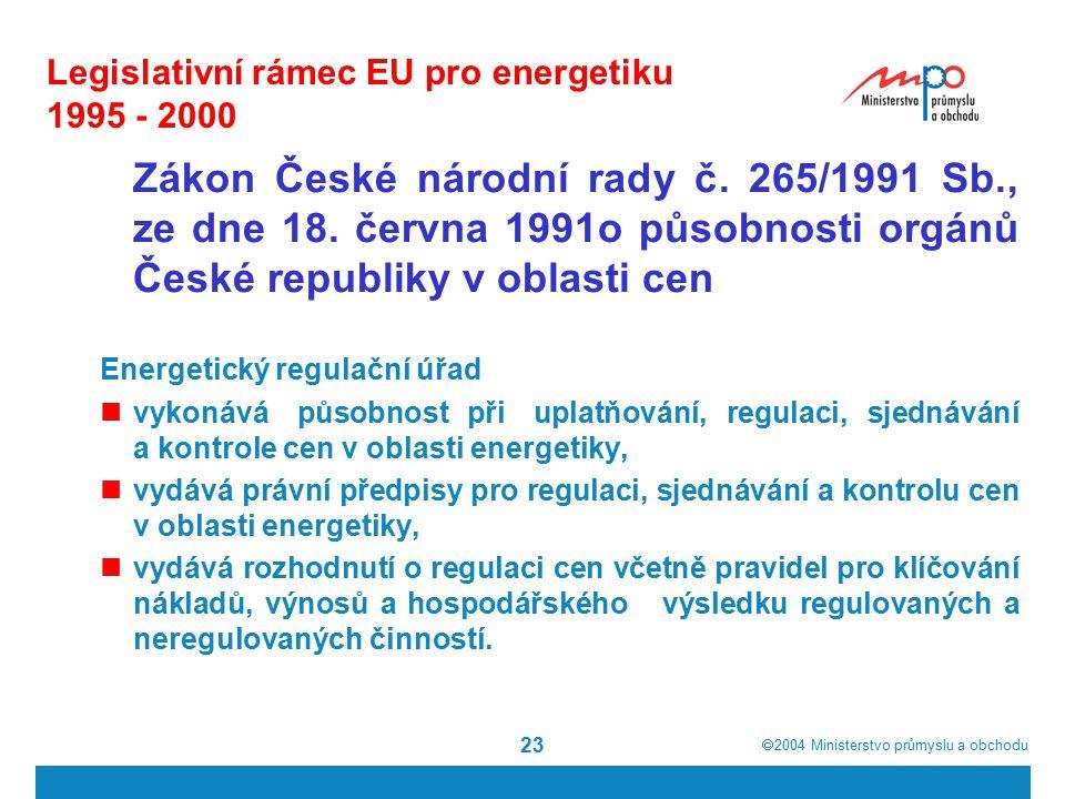  2004  Ministerstvo průmyslu a obchodu 23 Legislativní rámec EU pro energetiku 1995 - 2000 Zákon České národní rady č.