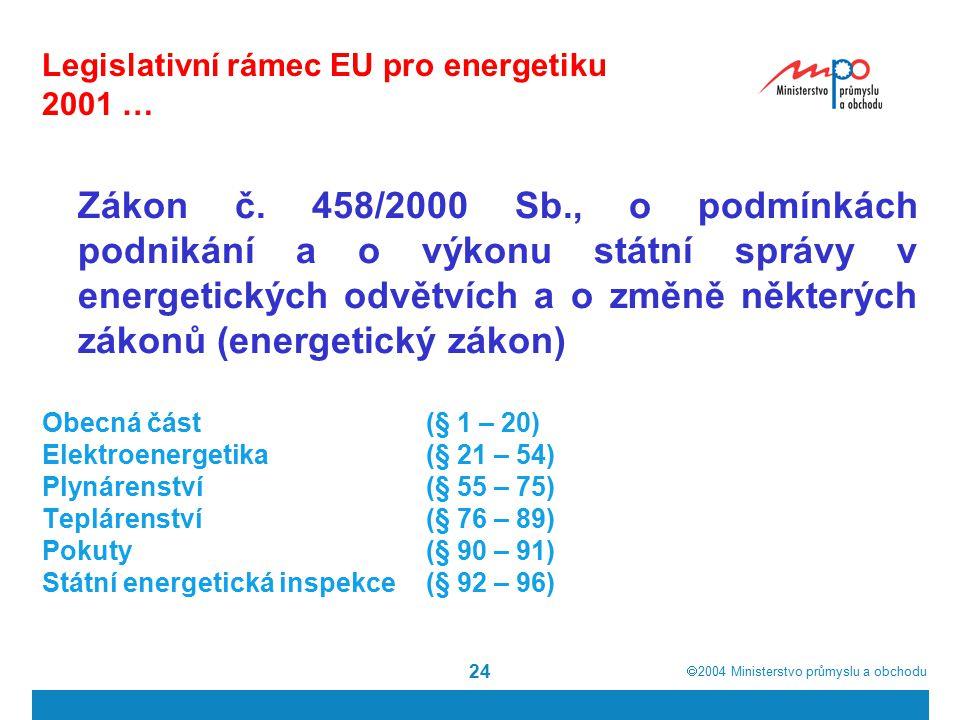  2004  Ministerstvo průmyslu a obchodu 24 Legislativní rámec EU pro energetiku 2001 … Zákon č.