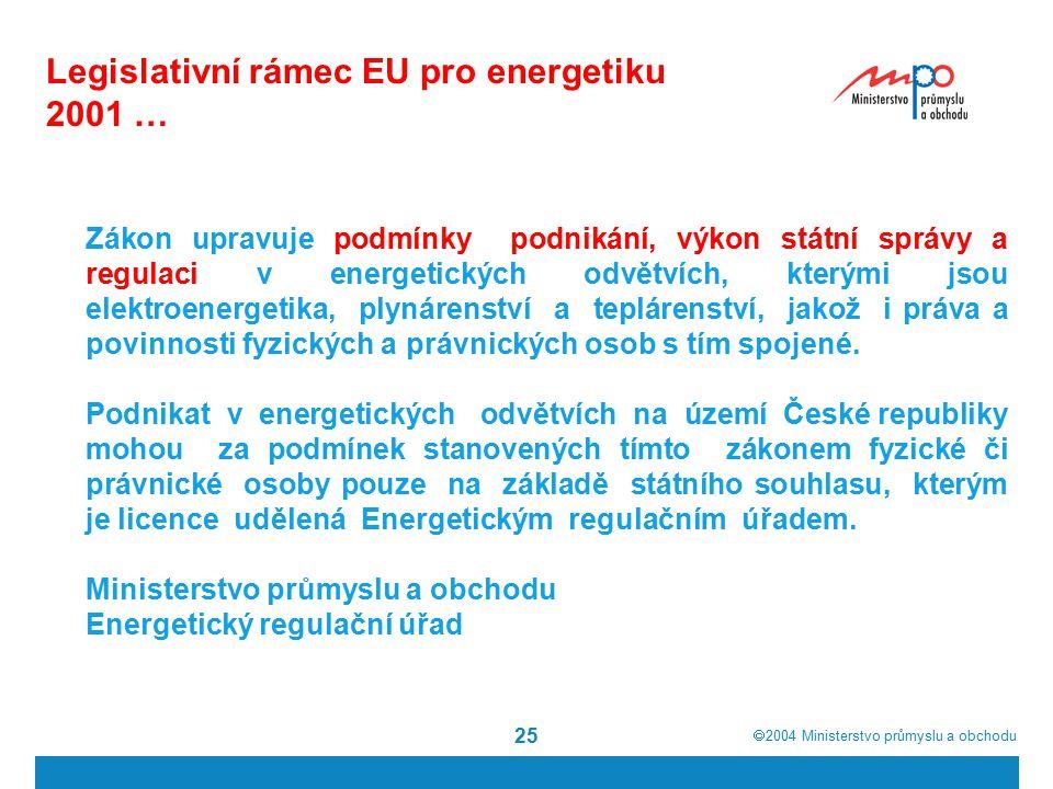  2004  Ministerstvo průmyslu a obchodu 25 Legislativní rámec EU pro energetiku 2001 … Zákon upravuje podmínky podnikání, výkon státní správy a regulaci v energetických odvětvích, kterými jsou elektroenergetika, plynárenství a teplárenství, jakož i práva a povinnosti fyzických a právnických osob s tím spojené.