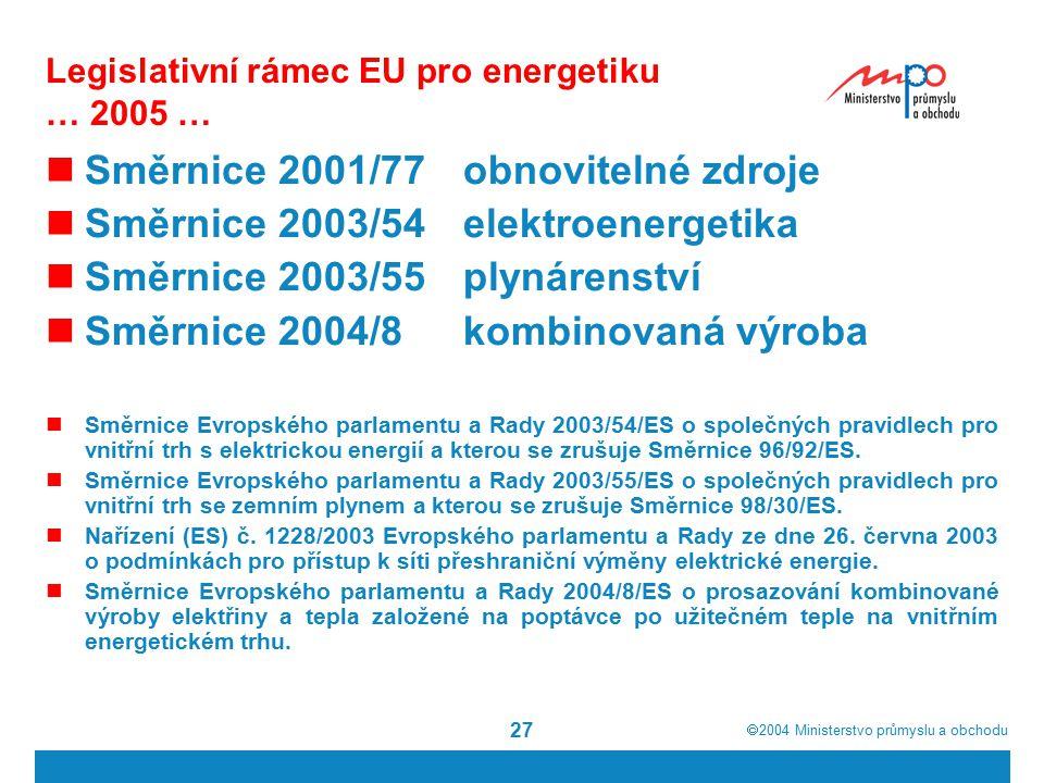  2004  Ministerstvo průmyslu a obchodu 27 Legislativní rámec EU pro energetiku … 2005 … Směrnice 2001/77obnovitelné zdroje Směrnice 2003/54elektroenergetika Směrnice 2003/55plynárenství Směrnice 2004/8kombinovaná výroba Směrnice Evropského parlamentu a Rady 2003/54/ES o společných pravidlech pro vnitřní trh s elektrickou energií a kterou se zrušuje Směrnice 96/92/ES.