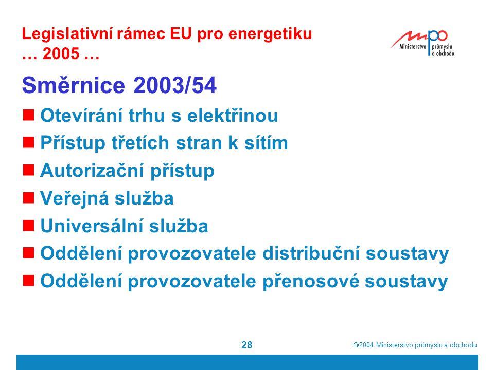  2004  Ministerstvo průmyslu a obchodu 28 Legislativní rámec EU pro energetiku … 2005 … Směrnice 2003/54 Otevírání trhu s elektřinou Přístup třetích stran k sítím Autorizační přístup Veřejná služba Universální služba Oddělení provozovatele distribuční soustavy Oddělení provozovatele přenosové soustavy