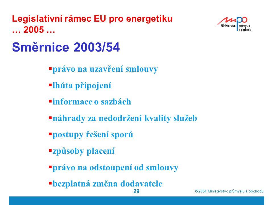 2004  Ministerstvo průmyslu a obchodu 29 Legislativní rámec EU pro energetiku … 2005 … Směrnice 2003/54  právo na uzavření smlouvy  lhůta připojení  informace o sazbách  náhrady za nedodržení kvality služeb  postupy řešení sporů  způsoby placení  právo na odstoupení od smlouvy  bezplatná změna dodavatele