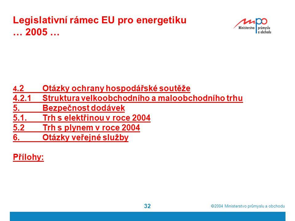 2004  Ministerstvo průmyslu a obchodu 32 Legislativní rámec EU pro energetiku … 2005 … 4.2Otázky ochrany hospodářské soutěže 4.2.1Struktura velkoobchodního a maloobchodního trhu 5.