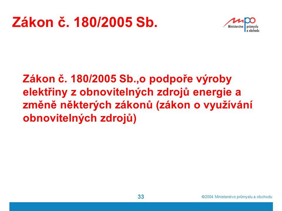  2004  Ministerstvo průmyslu a obchodu 33 Zákon č.