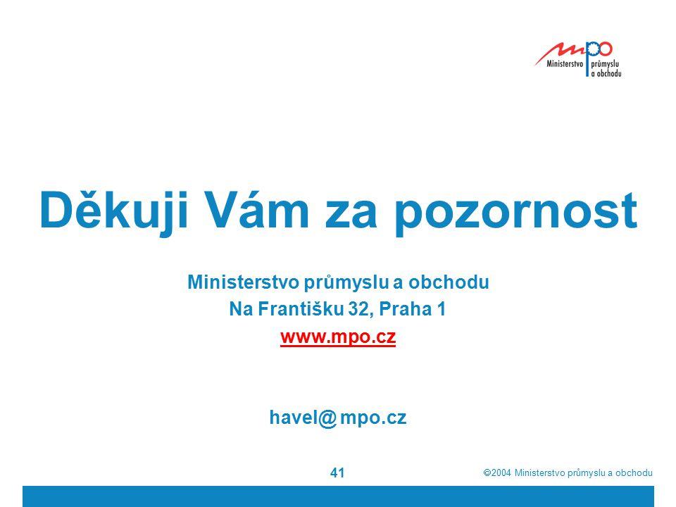  2004  Ministerstvo průmyslu a obchodu 41 Děkuji Vám za pozornost Ministerstvo průmyslu a obchodu Na Františku 32, Praha 1 www.mpo.cz havel@ mpo.cz