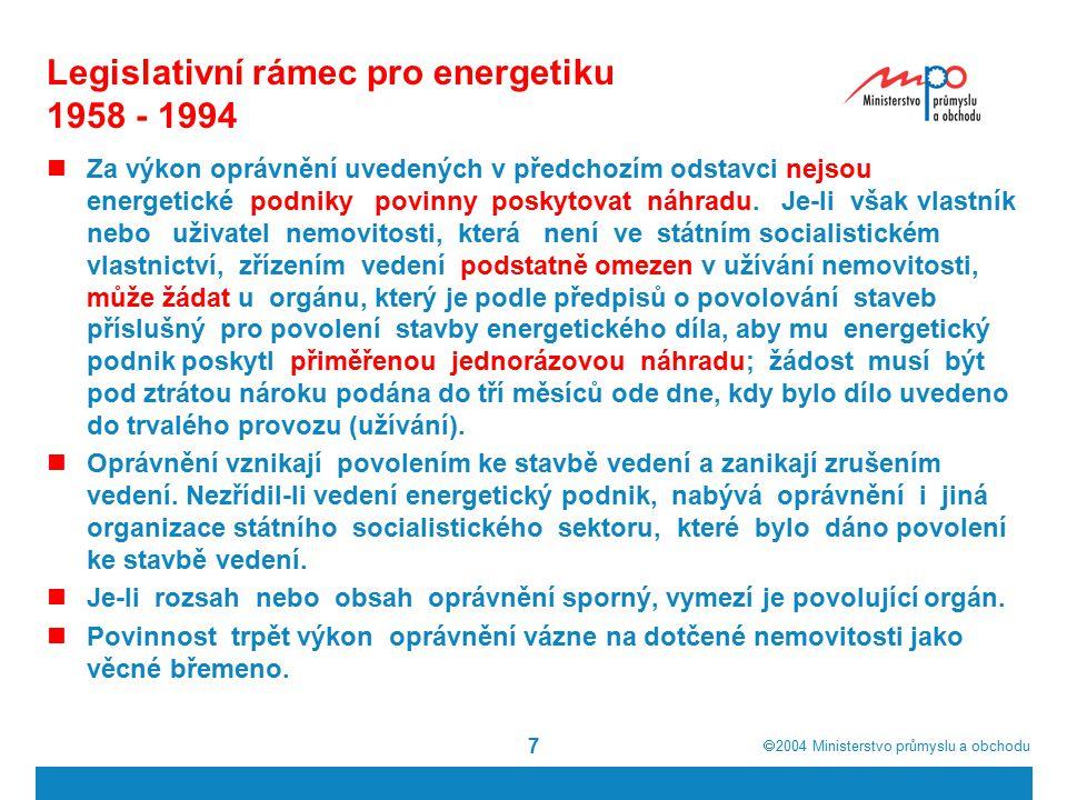  2004  Ministerstvo průmyslu a obchodu 7 Legislativní rámec pro energetiku 1958 - 1994 Za výkon oprávnění uvedených v předchozím odstavci nejsou energetické podniky povinny poskytovat náhradu.