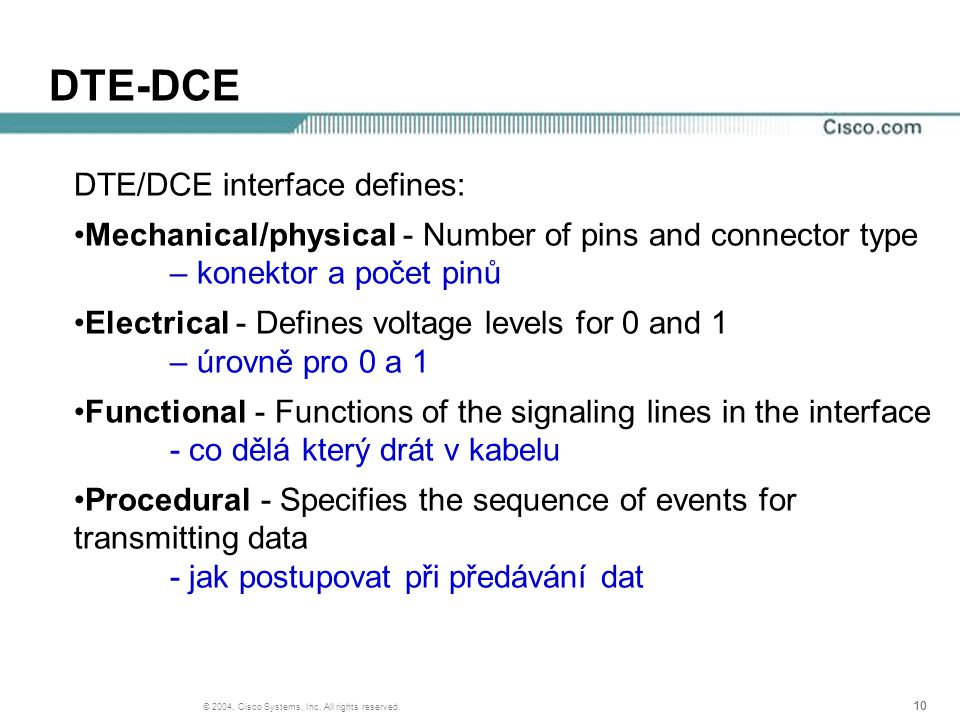 10 © 2004, Cisco Systems, Inc. All rights reserved. DTE-DCE DTE/DCE interface defines: Mechanical/physical - Number of pins and connector type – konek