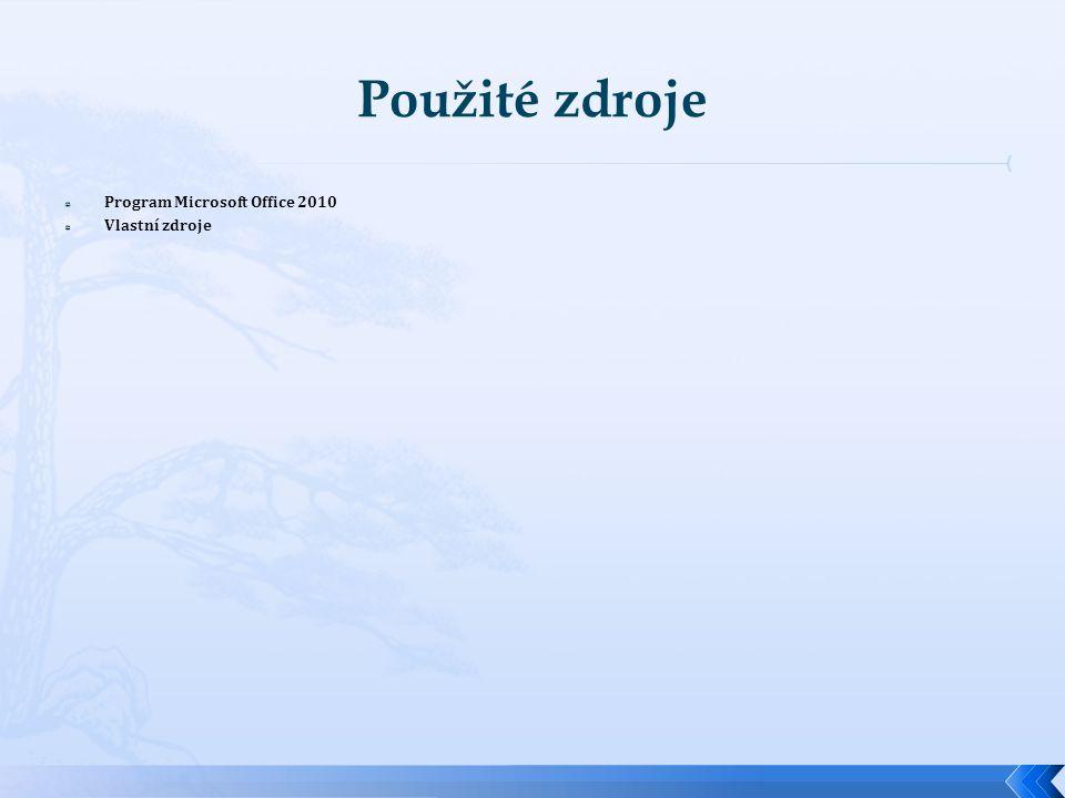  Program Microsoft Office 2010  Vlastní zdroje