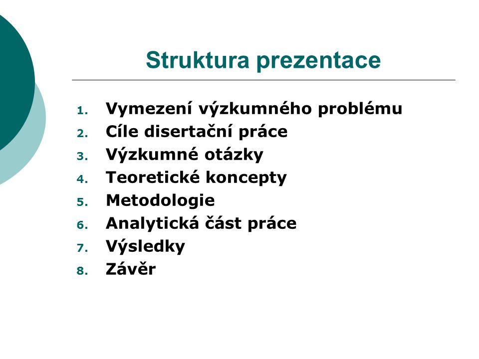 Struktura prezentace 1. Vymezení výzkumného problému 2.