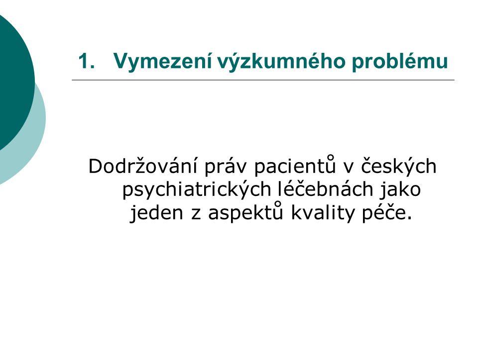 1.Vymezení výzkumného problému Dodržování práv pacientů v českých psychiatrických léčebnách jako jeden z aspektů kvality péče.