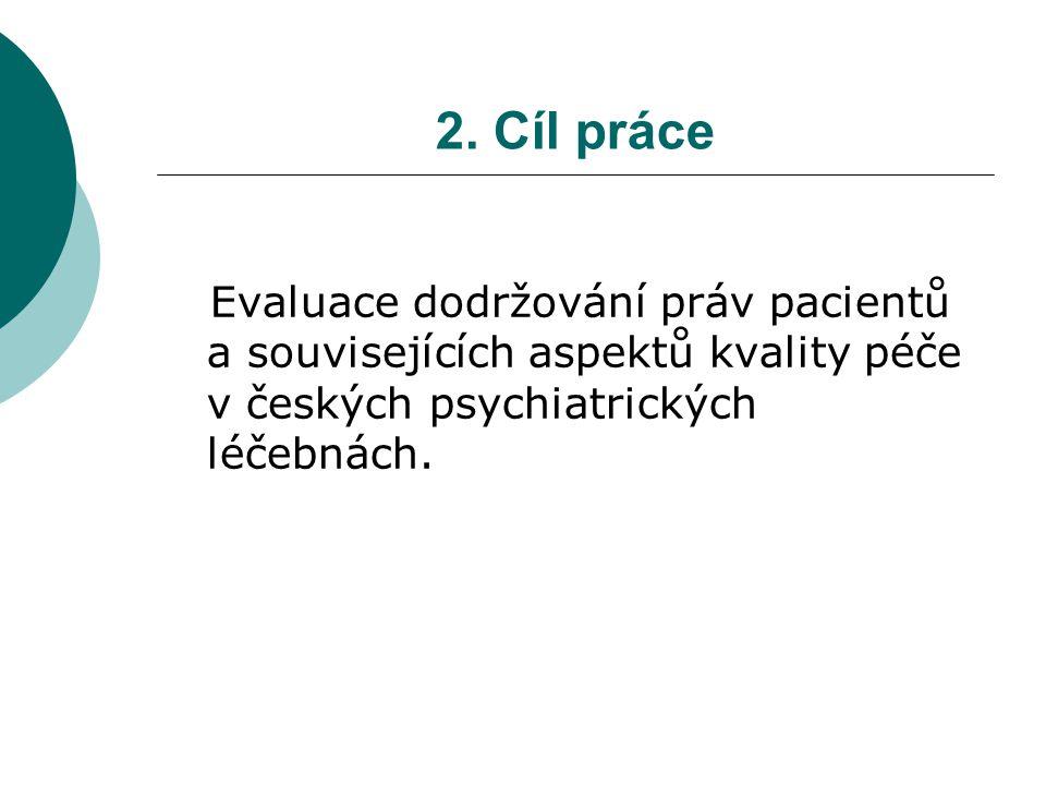 2. Cíl práce Evaluace dodržování práv pacientů a souvisejících aspektů kvality péče v českých psychiatrických léčebnách.