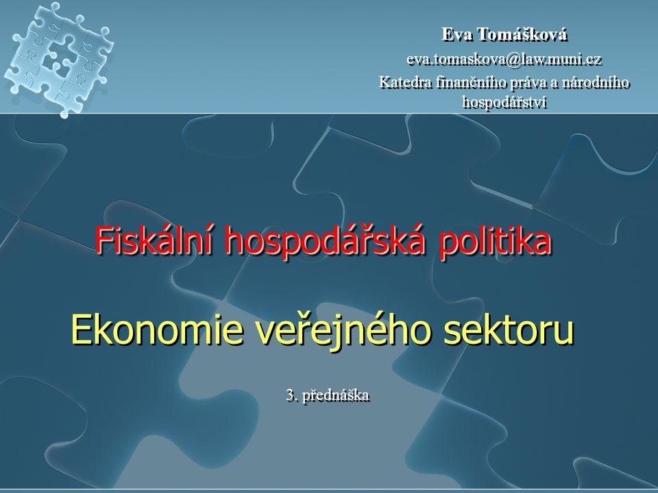 Fiskální hospodářská politika Fiskální hospodářská politika Ekonomie veřejného sektoru 3. přednáška Eva Tomášková eva.tomaskova@law.muni.cz Katedra fi