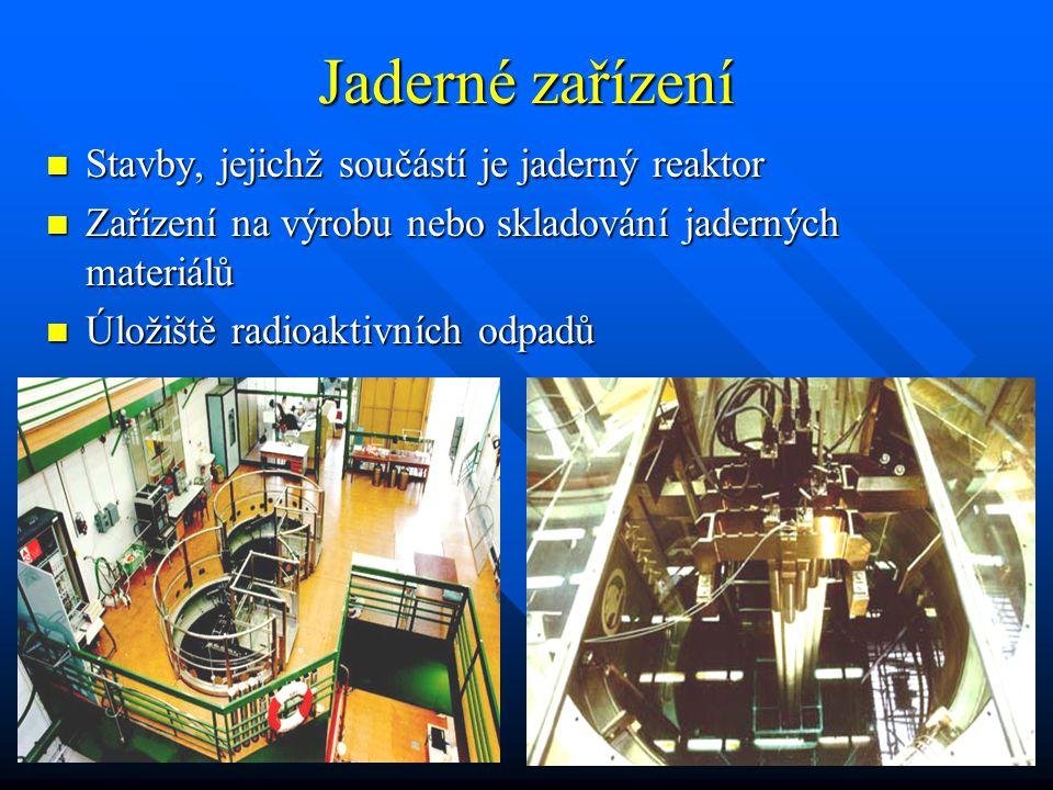 Jaderné zařízení Stavby, jejichž součástí je jaderný reaktor Stavby, jejichž součástí je jaderný reaktor Zařízení na výrobu nebo skladování jaderných materiálů Zařízení na výrobu nebo skladování jaderných materiálů Úložiště radioaktivních odpadů Úložiště radioaktivních odpadů