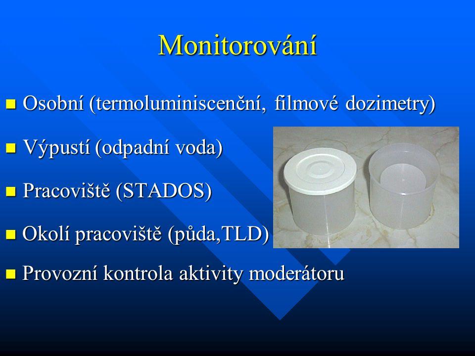 Monitorování Osobní (termoluminiscenční, filmové dozimetry) Osobní (termoluminiscenční, filmové dozimetry) Výpustí (odpadní voda) Výpustí (odpadní voda) Pracoviště (STADOS) Pracoviště (STADOS) Provozní kontrola aktivity moderátoru Provozní kontrola aktivity moderátoru Okolí pracoviště (půda,TLD) Okolí pracoviště (půda,TLD)