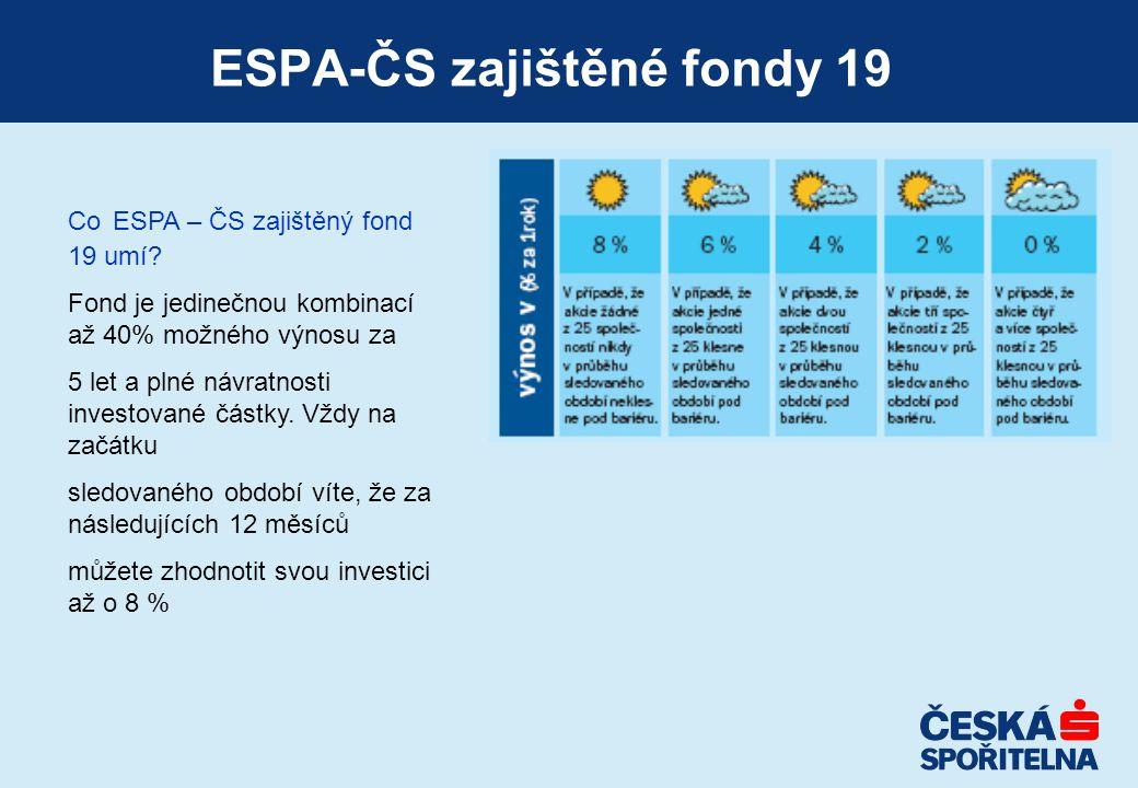 ESPA-ČS zajištěné fondy 19 Co ESPA – ČS zajištěný fond 19 umí? Fond je jedinečnou kombinací až 40% možného výnosu za 5 let a plné návratnosti investov
