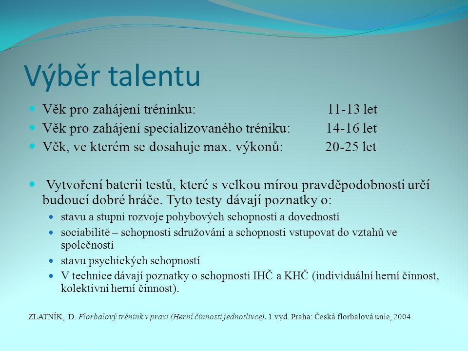 Výběr talentu Věk pro zahájení tréninku: 11-13 let Věk pro zahájení specializovaného tréniku: 14-16 let Věk, ve kterém se dosahuje max.