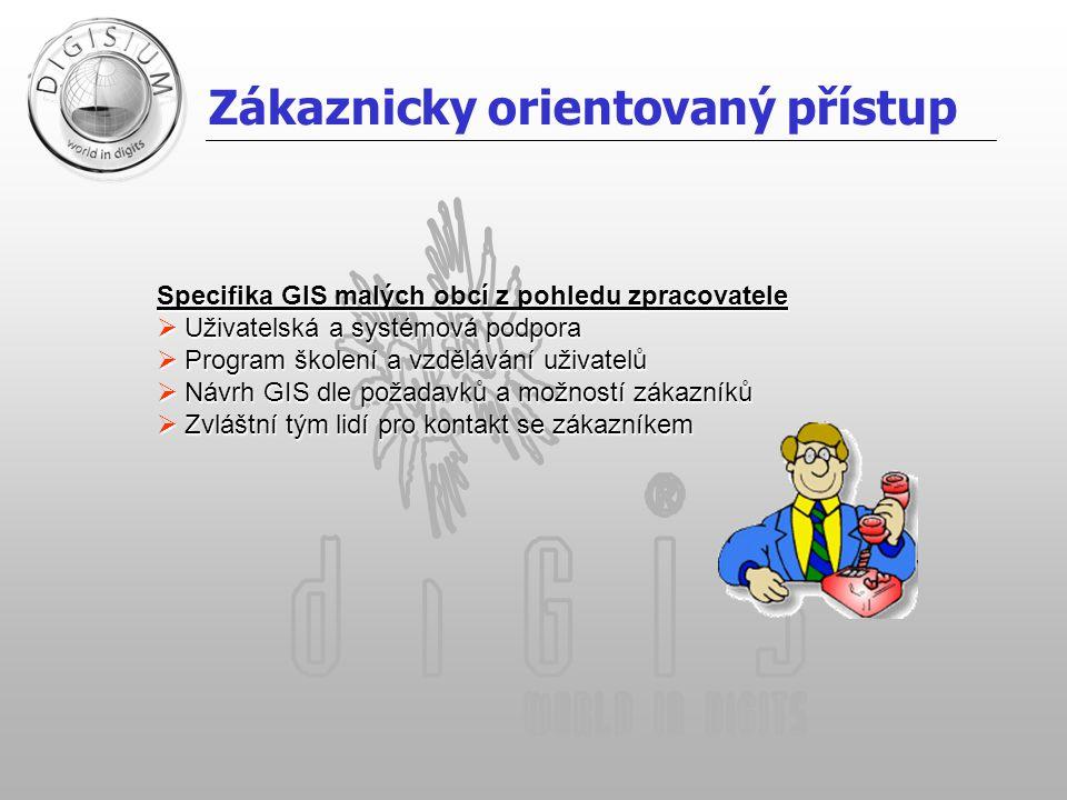 Zákaznicky orientovaný přístup Specifika GIS malých obcí z pohledu zpracovatele  Uživatelská a systémová podpora  Program školení a vzdělávání uživa