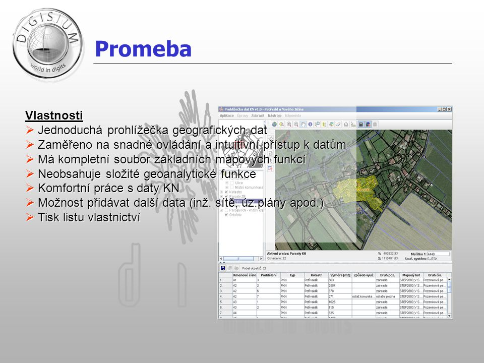 Promeba Vlastnosti  Jednoduchá prohlížečka geografických dat  Zaměřeno na snadné ovládání a intuitivní přístup k datům  Má kompletní soubor základních mapových funkcí  Neobsahuje složité geoanalytické funkce  Komfortní práce s daty KN  Možnost přidávat další data (inž.