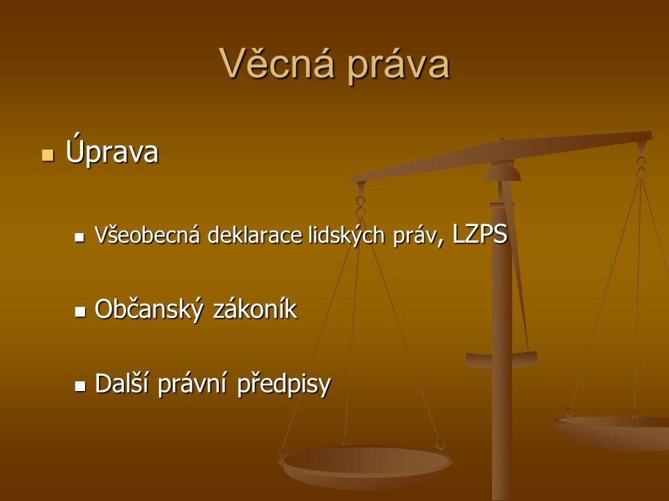 Věcná práva Úprava Úprava Všeobecná deklarace lidských práv, LZPS Všeobecná deklarace lidských práv, LZPS Občanský zákoník Občanský zákoník Další práv