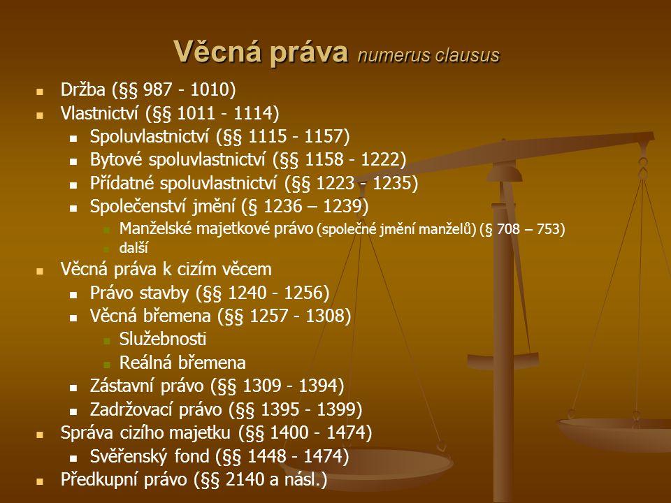 Věcná práva numerus clausus Držba (§§ 987 - 1010) Vlastnictví (§§ 1011 - 1114) Spoluvlastnictví (§§ 1115 - 1157) Bytové spoluvlastnictví (§§ 1158 - 12