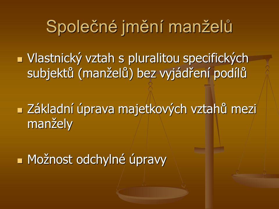 Společné jmění manželů Vlastnický vztah s pluralitou specifických subjektů (manželů) bez vyjádření podílů Vlastnický vztah s pluralitou specifických s
