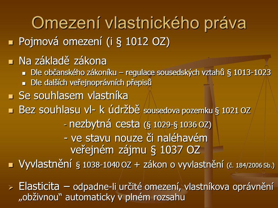 Omezení vlastnického práva Pojmová omezení (i § 1012 OZ) Pojmová omezení (i § 1012 OZ) Na základě zákona Na základě zákona Dle občanského zákoníku – r