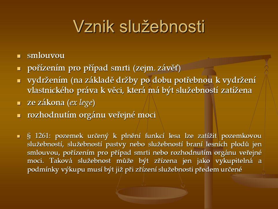 Vznik služebnosti smlouvou smlouvou pořízením pro případ smrti (zejm. závěť) pořízením pro případ smrti (zejm. závěť) vydržením (na základě držby po d