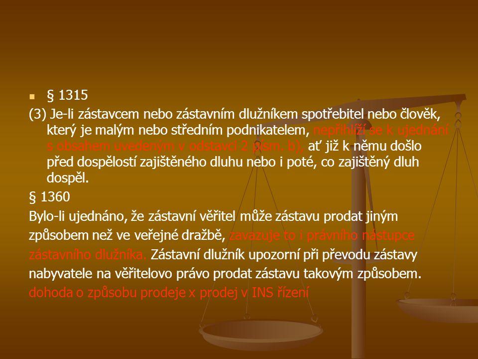 § 1315 (3) Je-li zástavcem nebo zástavním dlužníkem spotřebitel nebo člověk, který je malým nebo středním podnikatelem, nepřihlíží se k ujednání s obs