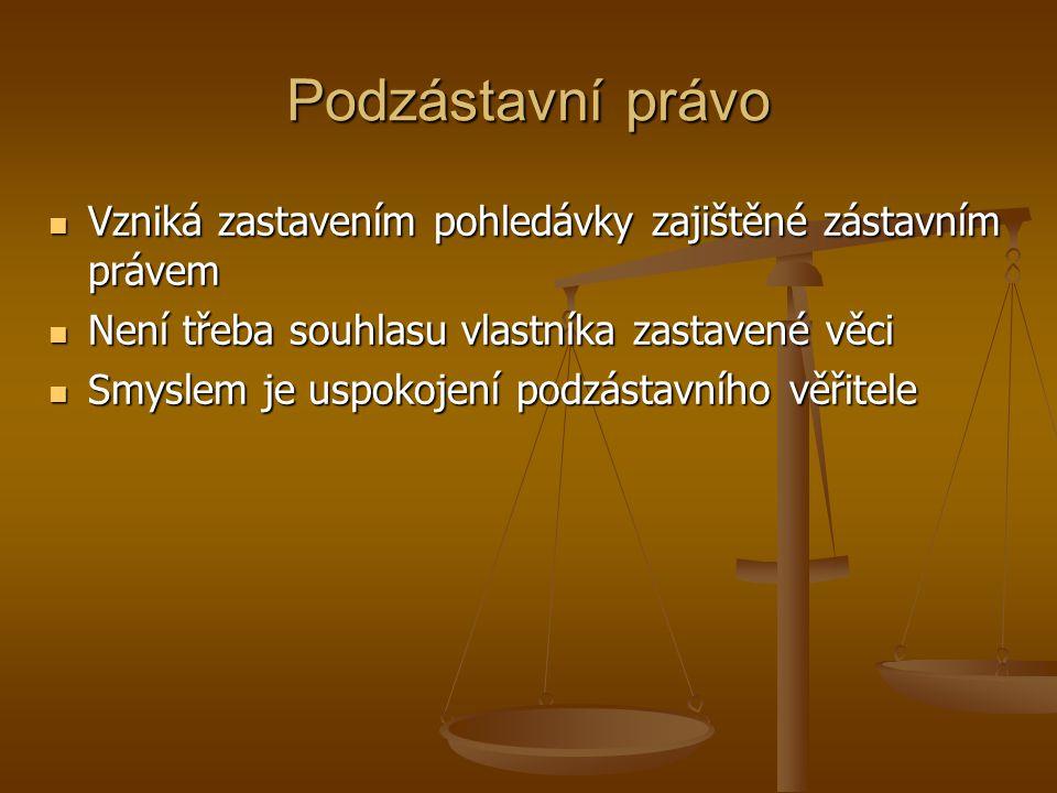 Podzástavní právo Vzniká zastavením pohledávky zajištěné zástavním právem Vzniká zastavením pohledávky zajištěné zástavním právem Není třeba souhlasu