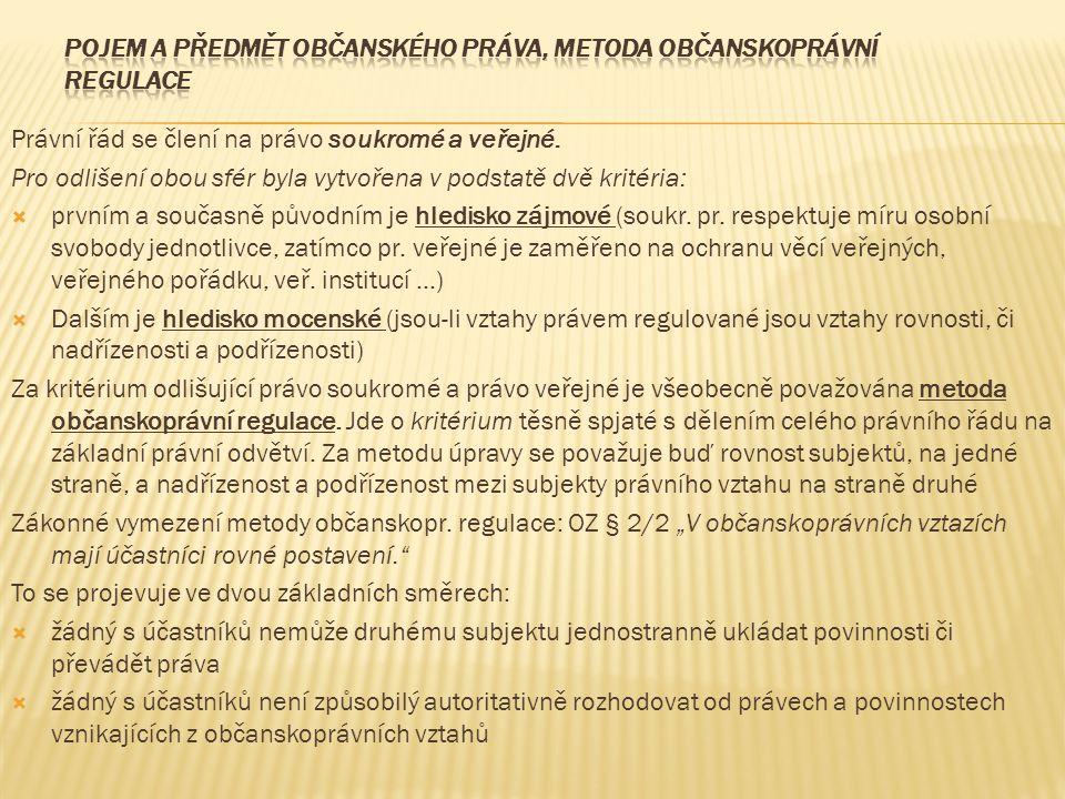 Právní řád se člení na právo soukromé a veřejné.