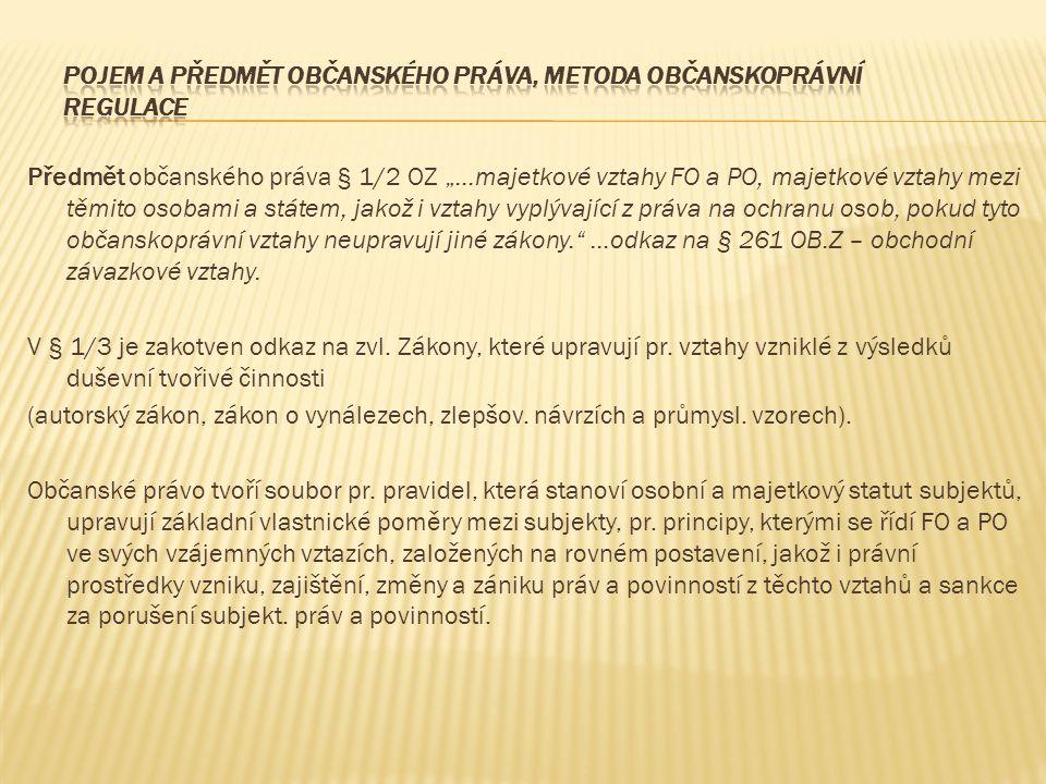 """Předmět občanského práva § 1/2 OZ """"…majetkové vztahy FO a PO, majetkové vztahy mezi těmito osobami a státem, jakož i vztahy vyplývající z práva na och"""